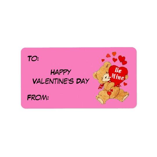 Seien Sie Bergwerk-Valentinsgruß-Teddybär auf Rosa Adressetikett