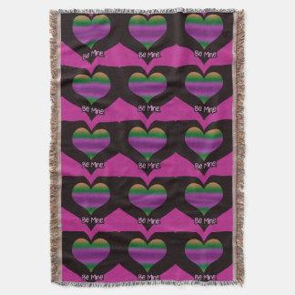 Seien Sie Bergwerkvalentine-lila Streifen-Herz Decke