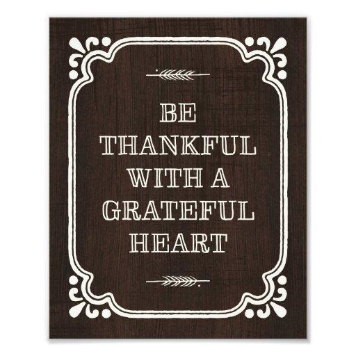 Seien Sie dankbarer Erntedank-Kunst-Druck Foto Druck