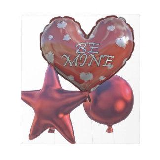 Seien Sie die Bergwerk-Valentinsgrüße, die Ballone Notizblock