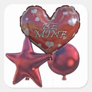 Seien Sie die Bergwerk-Valentinsgrüße, die Ballone Quadratischer Aufkleber