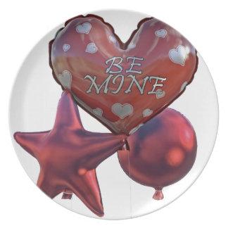 Seien Sie die Bergwerk-Valentinsgrüße, die Ballone Teller