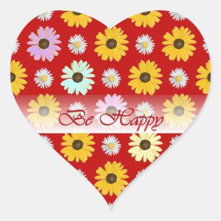 Seien Sie die glücklichen Gänseblümchen, die auf Herz-Aufkleber