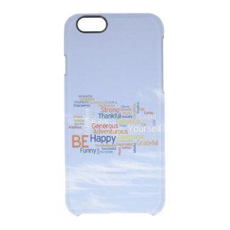 Seien Sie glücklich, dass Wort-Wolke im blauen Durchsichtige iPhone 6/6S Hülle
