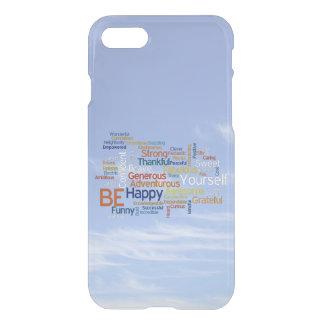 Seien Sie glücklich, dass Wort-Wolke im blauen iPhone 7 Hülle