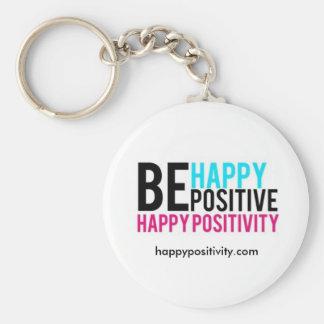 Seien Sie glücklich. Seien Sie positiv. Rundes Schlüsselanhänger