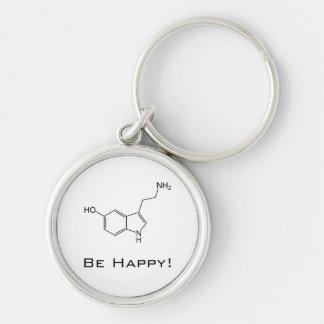 Seien Sie glücklich! Serotonin Keychain Silberfarbener Runder Schlüsselanhänger