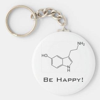 Seien Sie glücklich! Serotonin Keychain Standard Runder Schlüsselanhänger