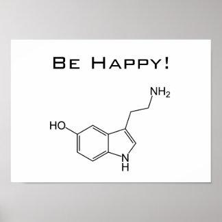 Seien Sie glücklich Serotonin-Plakat