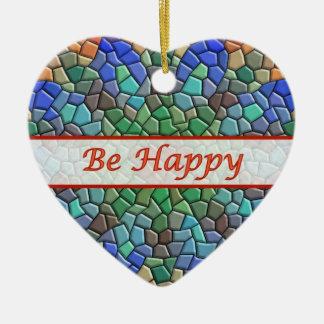 Seien Sie glückliche bunte Mosaik-Herz-Verzierung Weinachtsornamente