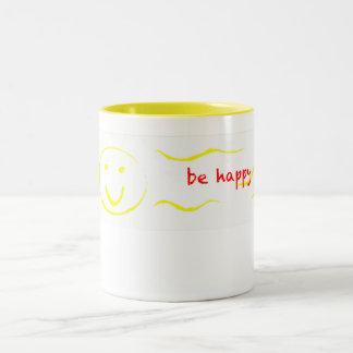 """""""seien Sie glückliche"""" smiley-Tasse Zweifarbige Tasse"""