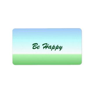 Seien Sie glücklicher grün-blauer Aufkleber Adressetiketten