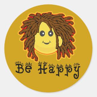 Seien Sie glücklicher Rasta Montag smiley Runder Aufkleber