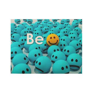 Seien Sie glücklicher smiley Emoji motivierend 2 Holzposter