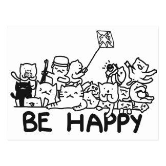Seien Sie glückliches Katzen-Gekritzel Postkarte