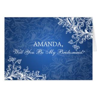 Seien Sie mein blauer Brautjungfern-Vintager Karte