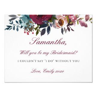Seien Sie mein Blumen Brautjungfern-Karten-rotes Karte