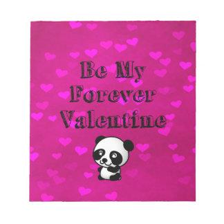 Seien Sie mein Forever-Valentinsgruß-Panda-Bär Notizblock