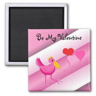 Seien Sie mein Valentinsgruß-Rosa-Storch Quadratischer Magnet