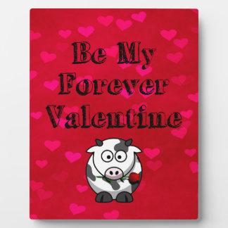 Seien Sie meine Forevervalentine-Kuh-Rose Fotoplatte