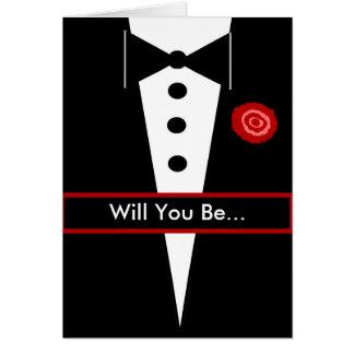 Seien Sie meine Trauzeuge-Karte mit Tux und Rose Grußkarte