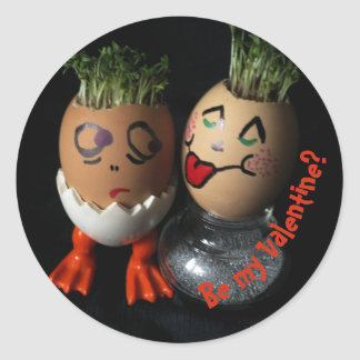 Seien Sie meine Valentinsgruß lustigen Eggmen Runder Aufkleber
