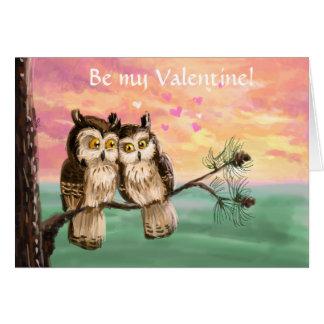 Seien Sie meine Valentinsgrußeulen Grußkarte