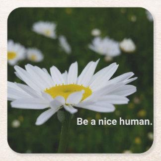 Seien Sie Nizza menschliche kundenspezifische Rechteckiger Pappuntersetzer
