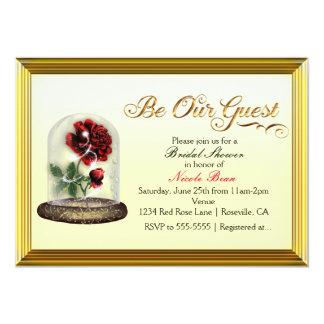 Seien Sie unsere Gast-Rote Rose in Glaselegantem 12,7 X 17,8 Cm Einladungskarte