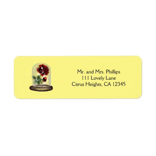 Seien Sie unsere Gast-Rote Rose in Glaselegantem Rücksendeetiketten