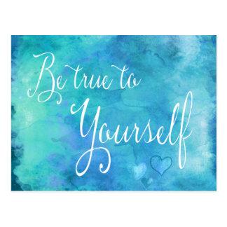 Seien Sie zu selbst Aqua-blaues Aquarell-Zitat Postkarte