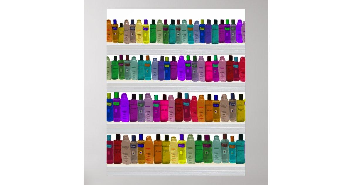 seifen sie flaschen regenbogen f r badezimmer poster zazzle. Black Bedroom Furniture Sets. Home Design Ideas