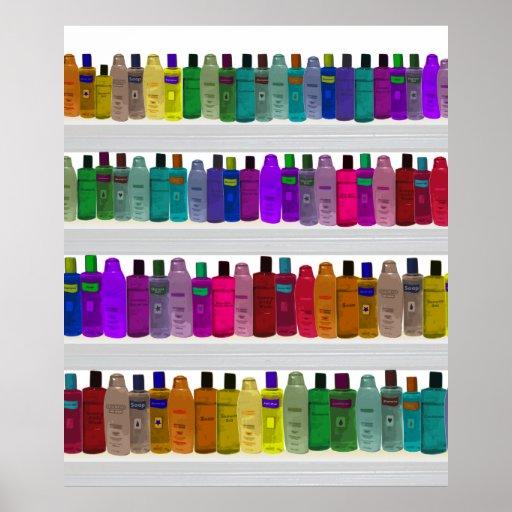 seifen sie flaschen regenbogen f r badezimmer s poster zazzle. Black Bedroom Furniture Sets. Home Design Ideas
