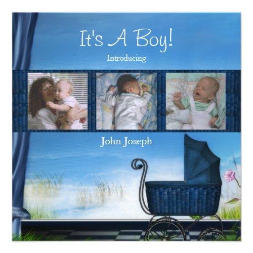 Sein Blau eine Jungen-Geburts-Mitteilung Ankündigung