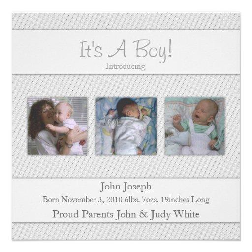 Sein Blau eine Jungen-Geburts-Mitteilung Personalisierte Einladungskarten