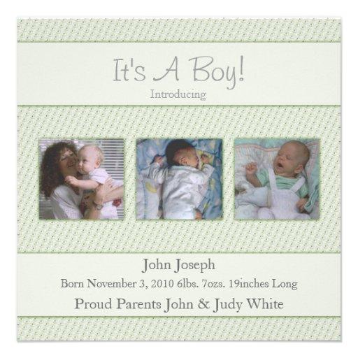 Sein Blau eine Jungen-Geburts-Mitteilung Individuelle Einladung