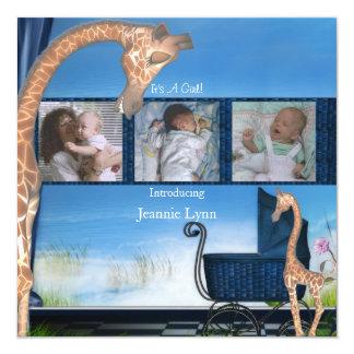 Sein Blau eine Jungen-Geburts-Mitteilung Quadratische 13,3 Cm Einladungskarte