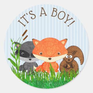 Sein ein Jungen-Waldtier-Waldgeschöpf-Aufkleber Runder Aufkleber
