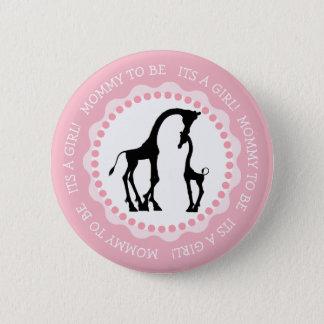 Sein ein Mädchen-Giraffen-Babyparty-Knopf Runder Button 5,1 Cm