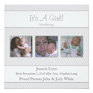 Sein Grau eine Mädchen-Geburts-Mitteilung Quadratische 13,3 Cm Einladungskarte