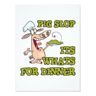 sein Schwein Slop, was für lustigen Koch-Cartoon Einladungskarte