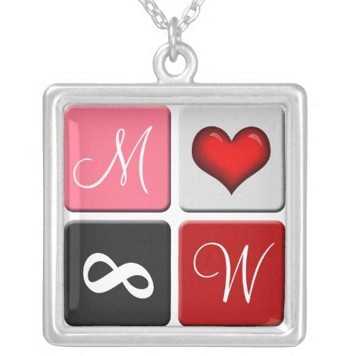 Sein u. ihrs Initialen ~ Rot-für immer Halskette Mit Quadratischem Anhänger