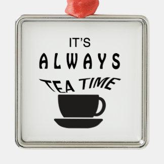 Seine immer Tee-Zeit Silbernes Ornament