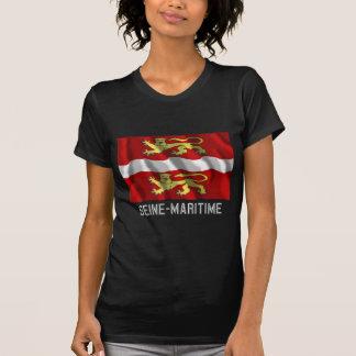 Seine-maritime das Flagge mit Namen wellenartig b Hemd