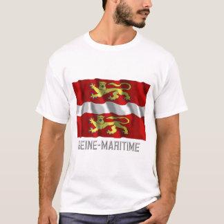 Seine-maritime, das Flagge mit Namen wellenartig T-Shirt
