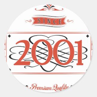 Seit 2001 (Red&Black) Runder Aufkleber