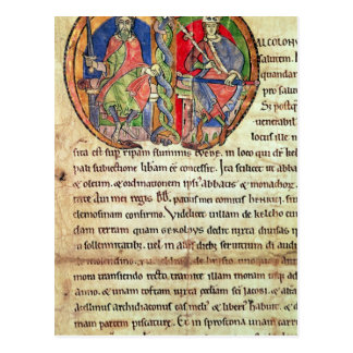 Seite von der Charterkelso-Abtei mit Postkarte