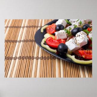 Seitenansicht des frischen vegetarischen Salats Poster