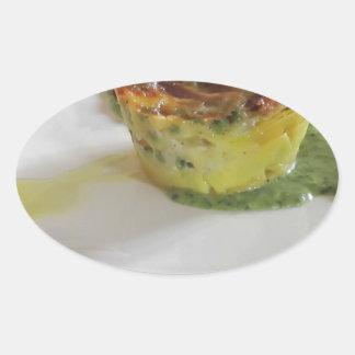 Selbst gemachte Lasagne Ovaler Aufkleber