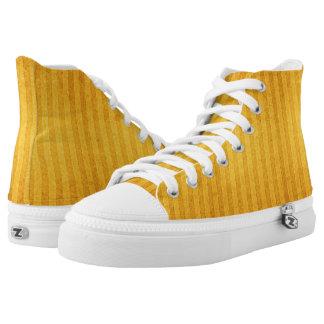 Selbst-gestreiftes goldenes Gelb Hoch-geschnittene Sneaker